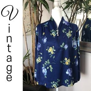 VTG 70s 80s Anthony Richards Blue Floral Shirt S